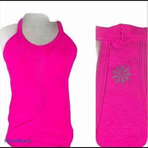 ATHLETA High Neck Ruched Racer Back Tank Pink-S